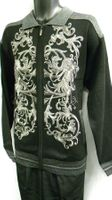 Prestige Mens Black All Over Embroidered Full Zip Sweater KTN-934