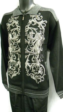 Prestige Mens Black All Over Embroidered Full Zip Sweater KTN-934  - click to enlarge