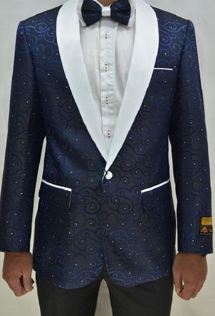 Mens Navy White Swirl Tuxedo Jacket Alberto Paisley-300 Size 46L Final Sale