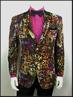 After Midnight Mens Leopard Design Velvet Entertainer Blazer