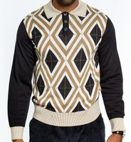 Prestige Mens Black Argyle Fashion Sweater KTN-761