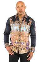 Prestige Mens Black Column Art Button Down Fashion Shirt COT235