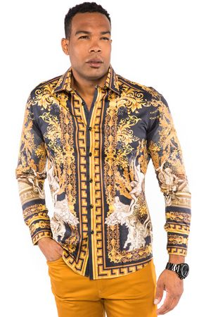 Prestige Mens Black Gold Angel Pattern Button Down Fashion Shirt COT224 - click to enlarge