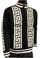 Prestige Mens Black Greek Key Stripe Mock Neck Sweater SW-166