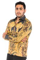 Prestige Mens Black Medusa Design Button Down Fashion Shirt COT215