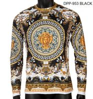 Prestige Mens Black Medusa Silky Long Sleeve Shirt DPP-953