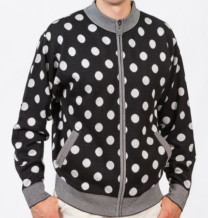 Prestige Mens Black Polka Dot Full Zip Sweater KTN-654