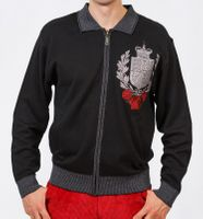 Prestige Mens Black Unique Embroider Full Zip Sweater KTN-657