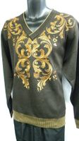 Prestige Mens Brown All Over Embroidered Sweater KTN-924
