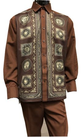 Prestige Mens Brown Digital Pattern Long Sleeve Outfit PM-736