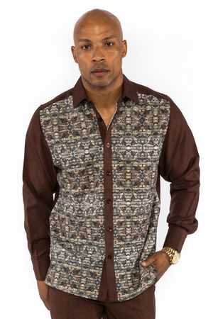 Prestige Mens Brown Floral Pattern Rayon Walking Suit Set PM553