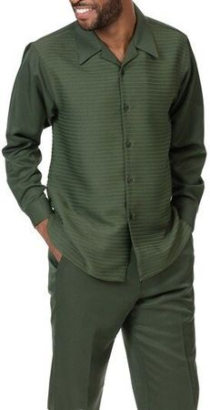 Montique Mens Money Green Long Sleeve Walking Suit 2088