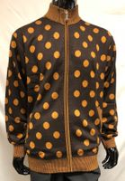 Prestige Mens Brown Big Dot Zipper Front Sweater KTN-654