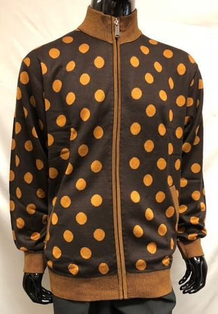 Prestige Mens Brown Big Dot Zipper Front Sweater KTN-654 - click to enlarge