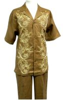 Prestige Mens Irish Linen Walking Suit Toffee Embroidered LUX776