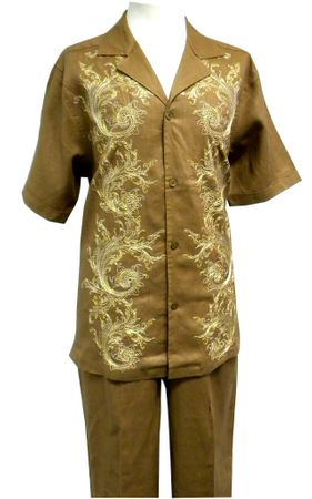 Prestige Mens Irish Linen Walking Suit Toffee Embroidered LUX776 Size 2XL