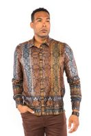 Prestige Mens Club Style Rust Button Down Shirt Fancy Print PR-448