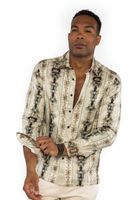Prestige Mens Designer Beige Button Down Shirt Art Print No Tuck PR-433