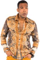 Prestige Mens Designer Brown Button Down Shirt Fancy Pattern UnTuckit PR-431
