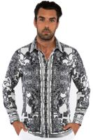 Prestige Mens Designer Button Down Shirt Black White Pattern No Tuck PR-431