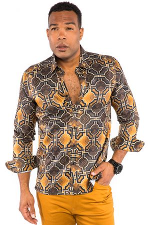 Prestige Mens Designer Rust Button Down Shirt Geo Pattern UnTuck PR-434 - click to enlarge