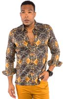 Prestige Mens Designer Rust Button Down Shirt Geo Pattern UnTuck PR-434