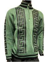 Prestige Mens Green Greek Key Stripe Mock Neck Sweater SW-166