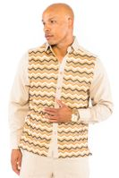 Prestige Mens Latte Tan  Missoni Pattern Rayon Walking Suit Set PM550