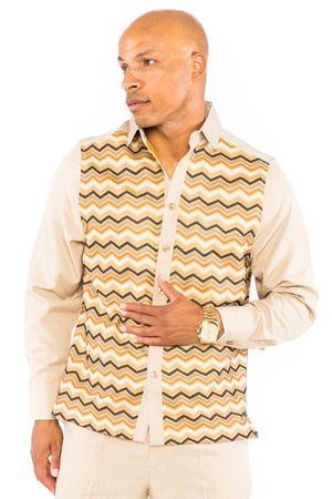 Prestige Mens Latte Tan  Missoni Pattern Rayon Walking Suit Set PM550 Size 3XL/44