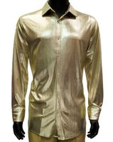 Prestige Mens Metallic Gold Stage Performer Shirt LIQ801