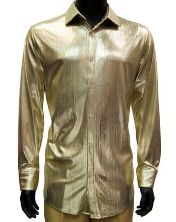 Prestige Mens Metallic Gold Stage Performer Shirt LIQ801 Size XL, 2XL
