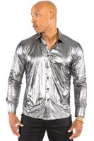 Prestige Mens Metallic Silver Designer Button Down Shirt LIQ-801