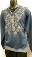 Prestige Mens Navy V Neck Embroidered Sweater KTN-924