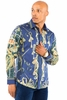 Prestige Mens Navy Insignia Versace Print Button Down Fashion Shirt COT238