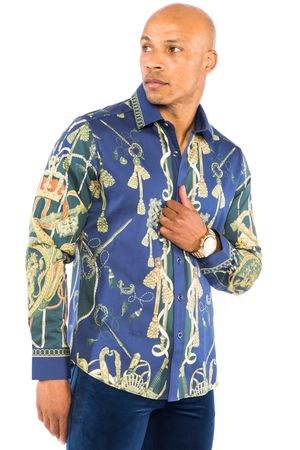 Prestige Mens Navy Insignia Versace Print Button Down Fashion Shirt COT238 - click to enlarge