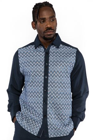 Prestige Mens Navy Zig Zag Style Walking Suit PM550 Size L, XL, 2XL