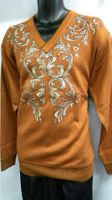 Prestige Mens Rust Embroidered V Neck Sweater KTN-924