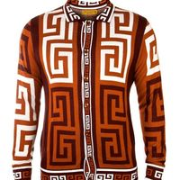 Prestige Mens Tan Brown Button Down Sweater SW-150