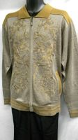 Prestige Mens Taupe All Over Embroidered Full Zip Sweater KTN-934