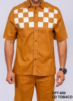 Prestige Mens Rust Block Irish Linen Walking Suit CPT-600