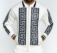 Prestige Mens White Apliq Fashion Sweater KTN-781