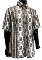 Prestige Mens White Black Print Short Sleeve Shirt PR-422