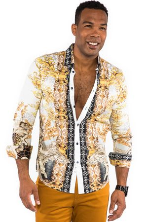 Prestige Mens White Digital Angel Print Button Down Fashion Shirt COT217 - click to enlarge