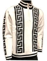 Prestige Mens White Greek Key Stripe Mock Neck Sweater SW-166