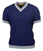 Prestige Navy Blue Greek Key V-Neck Short Sleeve Shirt CMK932