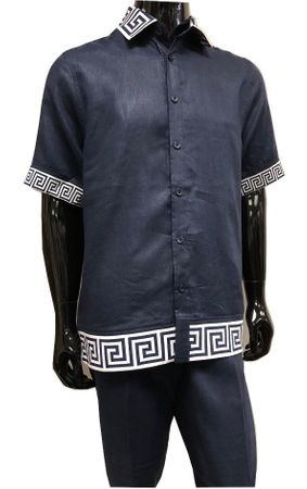 Prestige Navy Irish Linen Greek Key Stripe Outfit Men LUX972