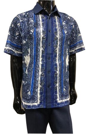 Prestige Navy Linen Greek Lace Front Outfit Men LUX986