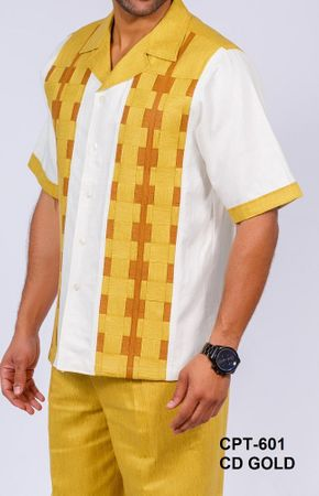 Prestige Gold Ivory Woven Box Irish Linen Outfit CPT601