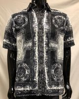 Prestige Party Wear Shirt Black Geometric Mesh Button Up LACE-442