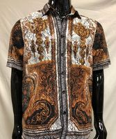 Prestige Party Wear Shirt Black Medusa Mesh Button Up LACE-434